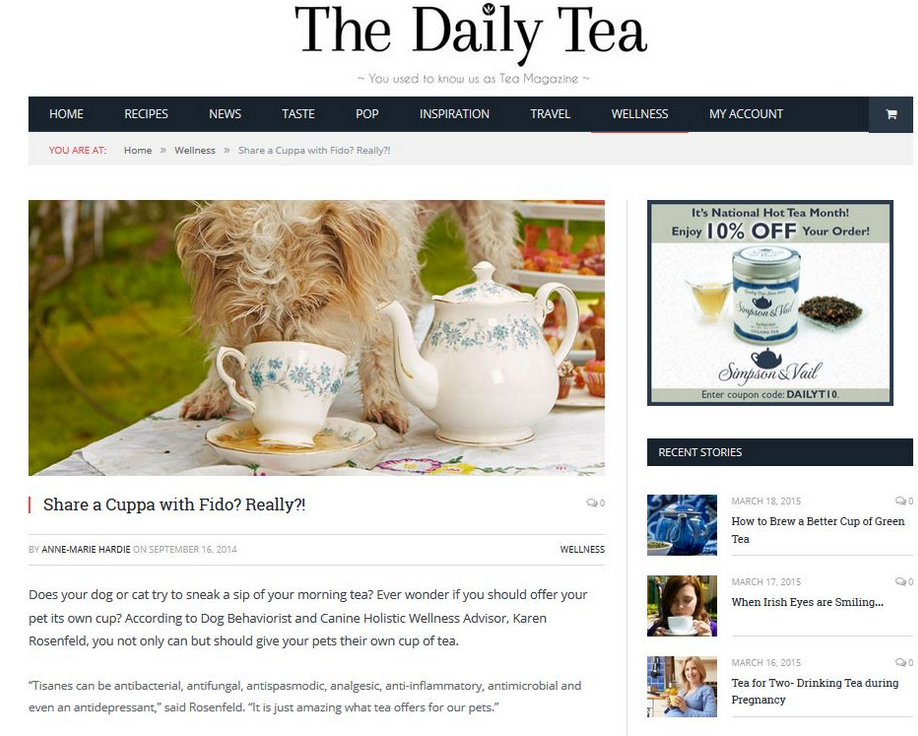 About in the media - article on tea for dogs